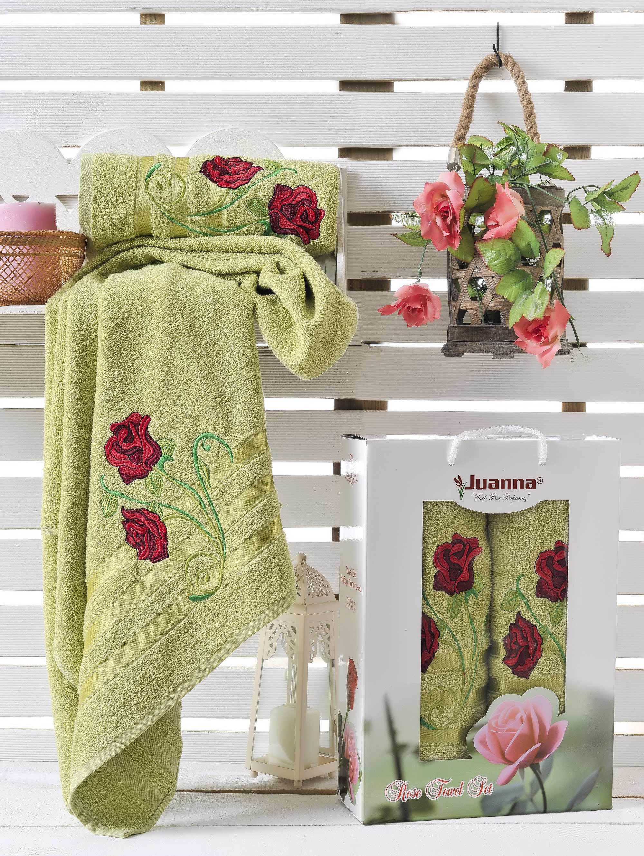 Полотенца Juanna Набор из 2 полотенец Gul Цвет: Зелёный набор из 3 полотенец merzuka sakura 50х90 2 70х140 8432 оранжевый
