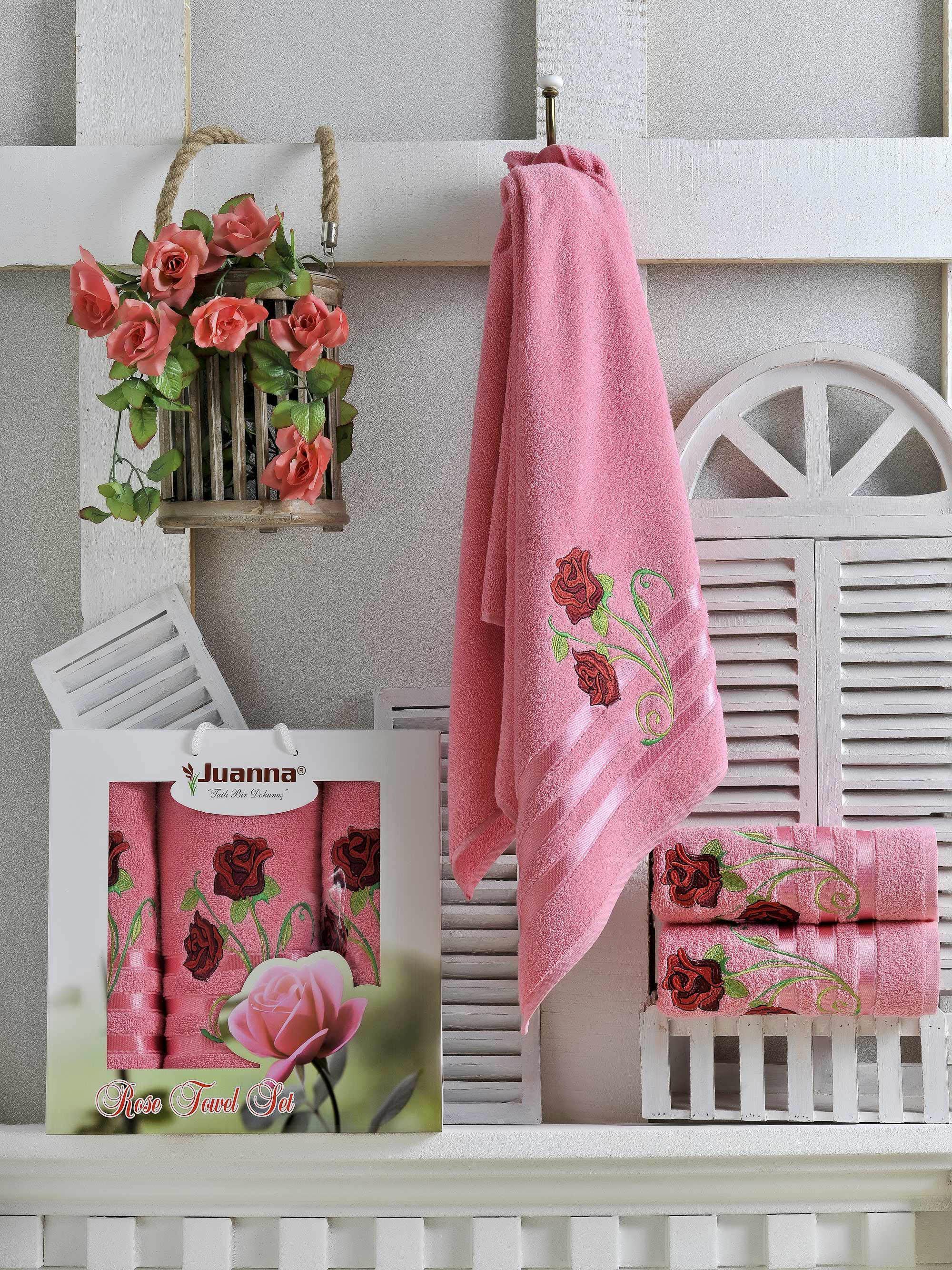 Полотенца Juanna Набор из 3 полотенец Gul Цвет: Брусничный набор из 3 полотенец merzuka sakura 50х90 2 70х140 8432 терракотовый