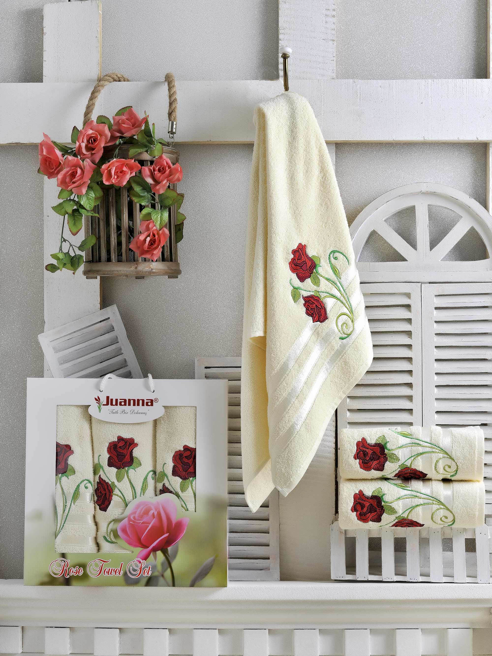 Полотенца Juanna Набор из 3 полотенец Gul Цвет: Кремовый набор из 3 полотенец merzuka sakura 50х90 2 70х140 8432 терракотовый