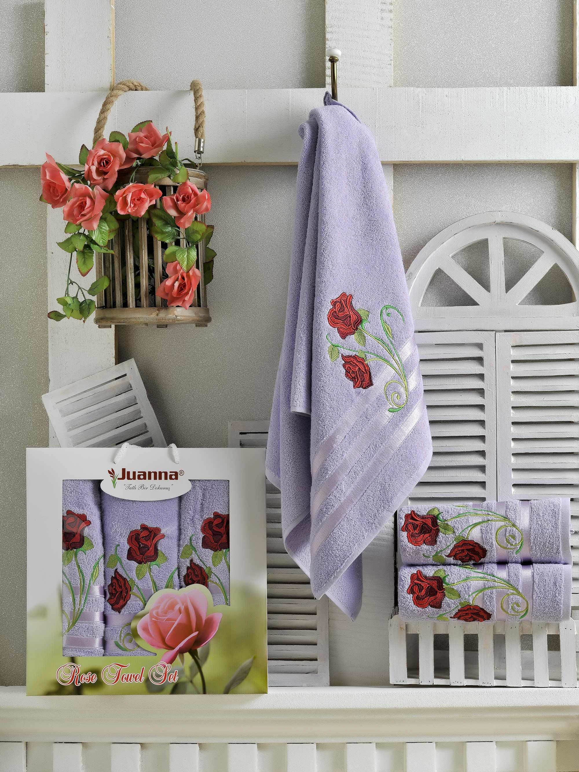 Полотенца Juanna Набор из 3 полотенец Gul Цвет: Лиловый набор из 3 полотенец merzuka sakura 50х90 2 70х140 8432 терракотовый