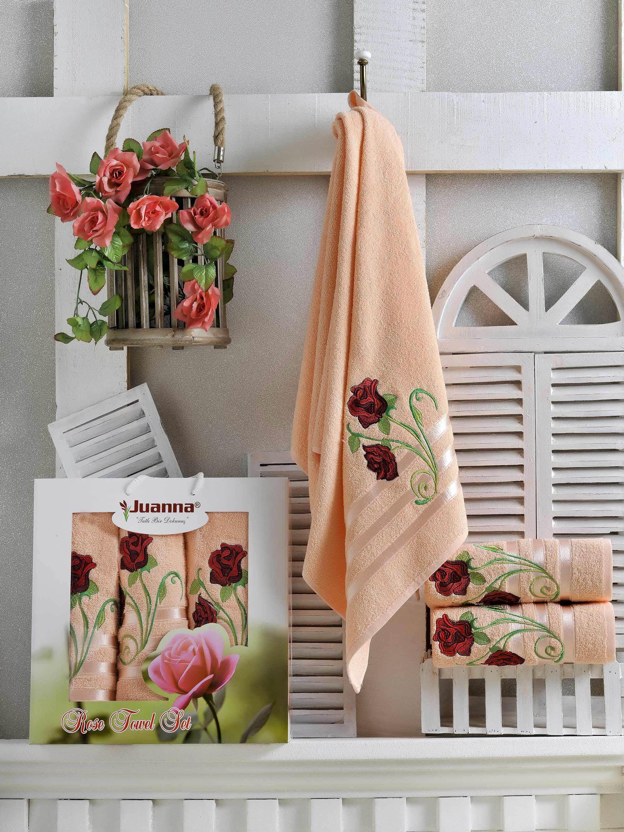 Полотенца Juanna Набор из 3 полотенец Gul Цвет: Персиковый набор из 3 полотенец merzuka sakura 50х90 2 70х140 8432 терракотовый