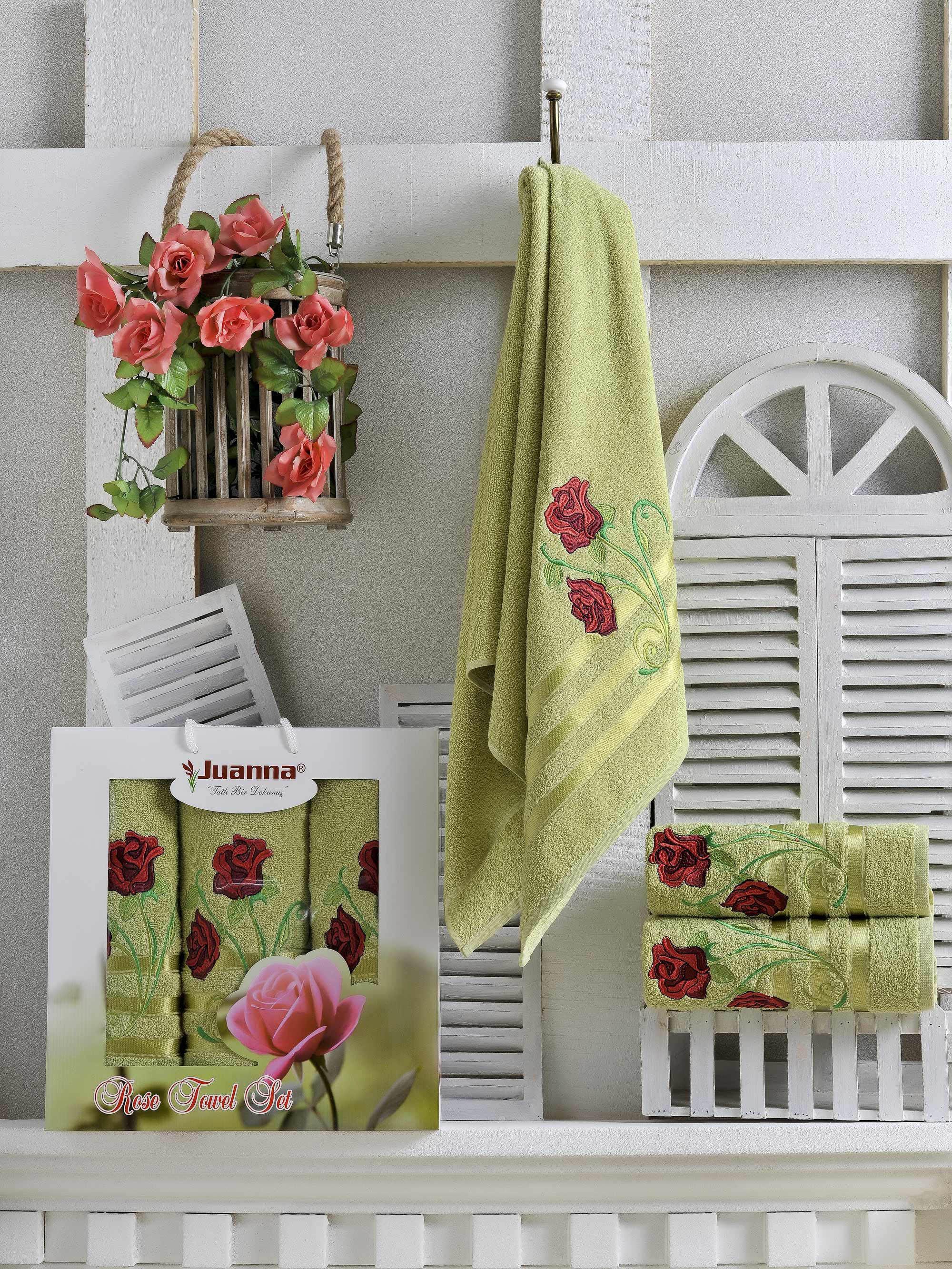 Полотенца Juanna Набор из 3 полотенец Gul Цвет: Зелёный набор из 3 полотенец merzuka sakura 50х90 2 70х140 8432 терракотовый