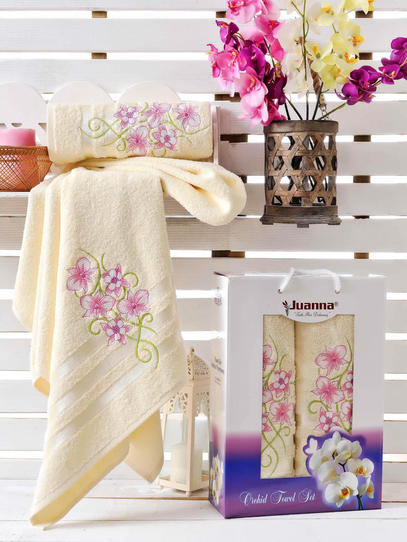 Полотенца Juanna Набор из 2 полотенец Orkide Цвет: Кремовый набор из 3 полотенец merzuka sakura 50х90 2 70х140 8432 терракотовый
