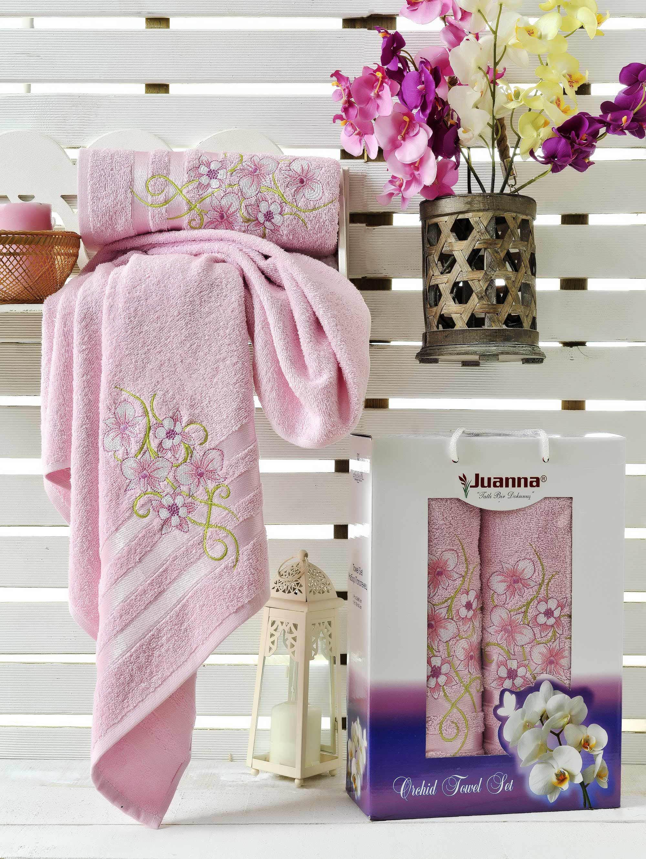 Полотенца Juanna Набор из 2 полотенец Orkide Цвет: Розовый набор из 3 полотенец merzuka sakura 50х90 2 70х140 8432 оранжевый