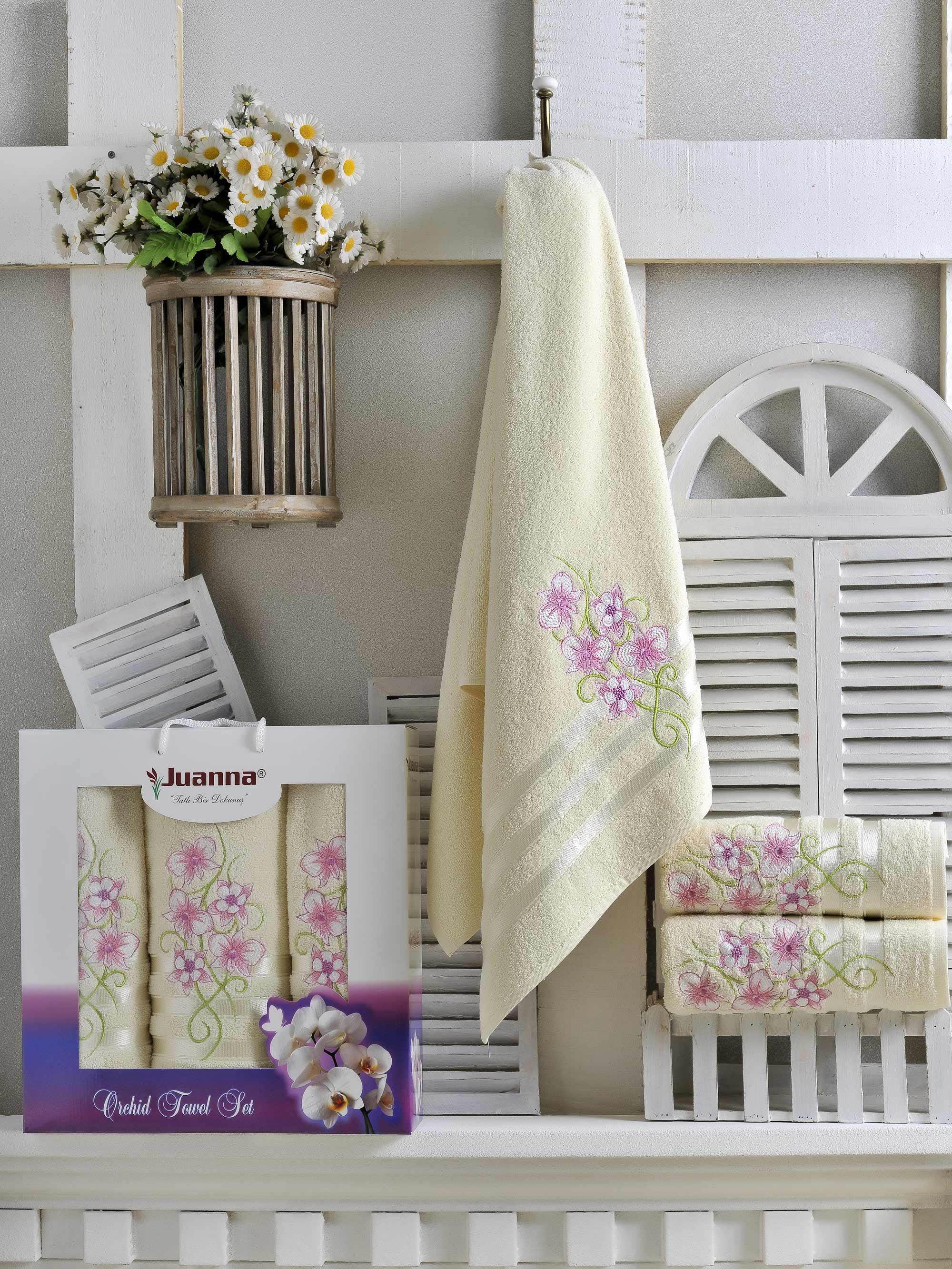 Полотенца Juanna Набор из 3 полотенец Orkide Цвет: Кремовый набор из 3 полотенец merzuka sakura 50х90 2 70х140 8432 терракотовый