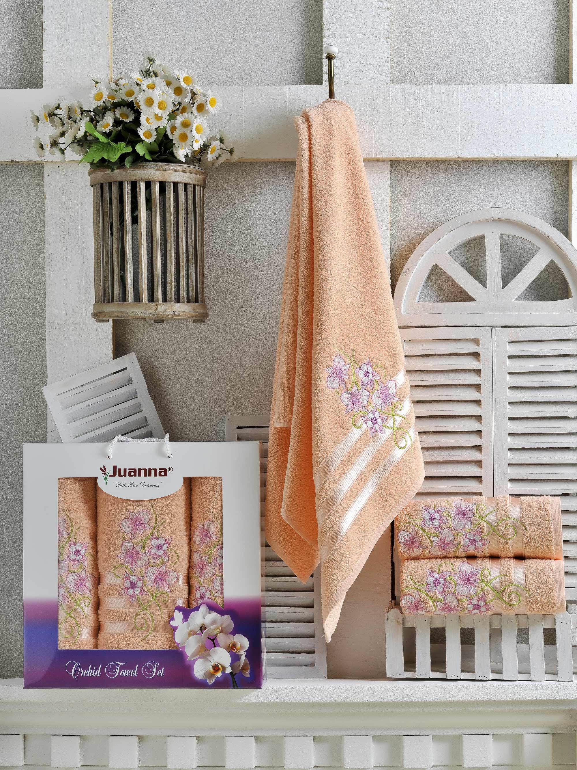 Полотенца Juanna Набор из 3 полотенец Orkide Цвет: Персиковый набор из 3 полотенец merzuka sakura 50х90 2 70х140 8432 терракотовый
