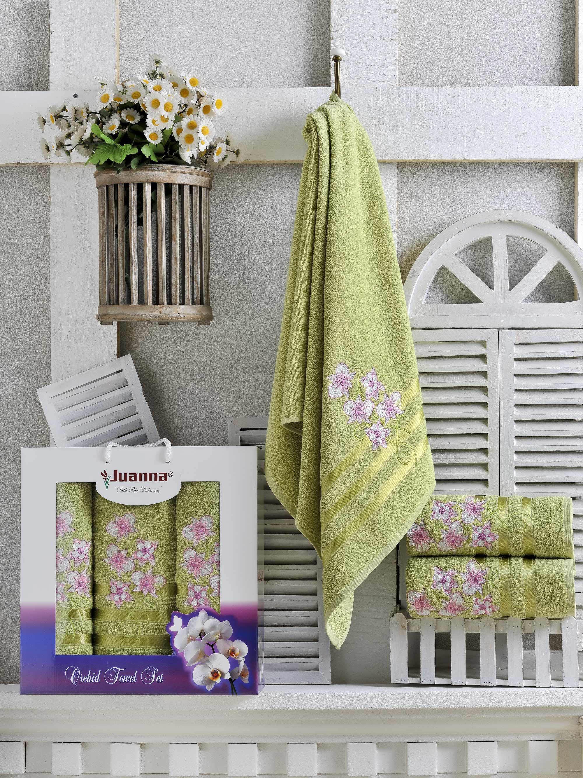 Полотенца Juanna Набор из 3 полотенец Orkide Цвет: Зелёный набор из 3 полотенец merzuka sakura 50х90 2 70х140 8432 терракотовый