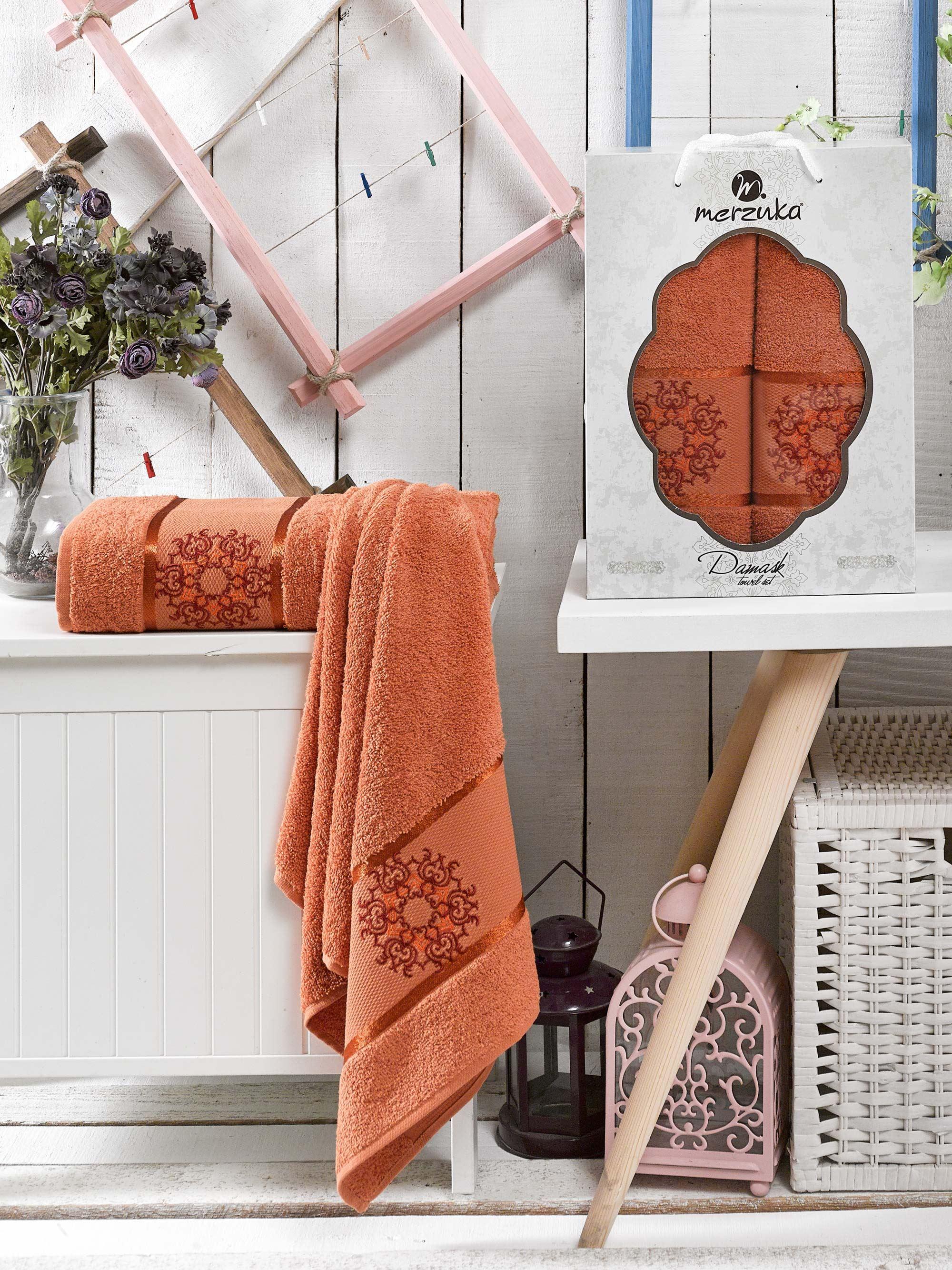 Полотенца Oran Merzuka Полотенце Damask Цвет: Терракотовый (50х80 см,70х130 см) набор из 3 полотенец merzuka sakura 50х90 2 70х140 8432 терракотовый