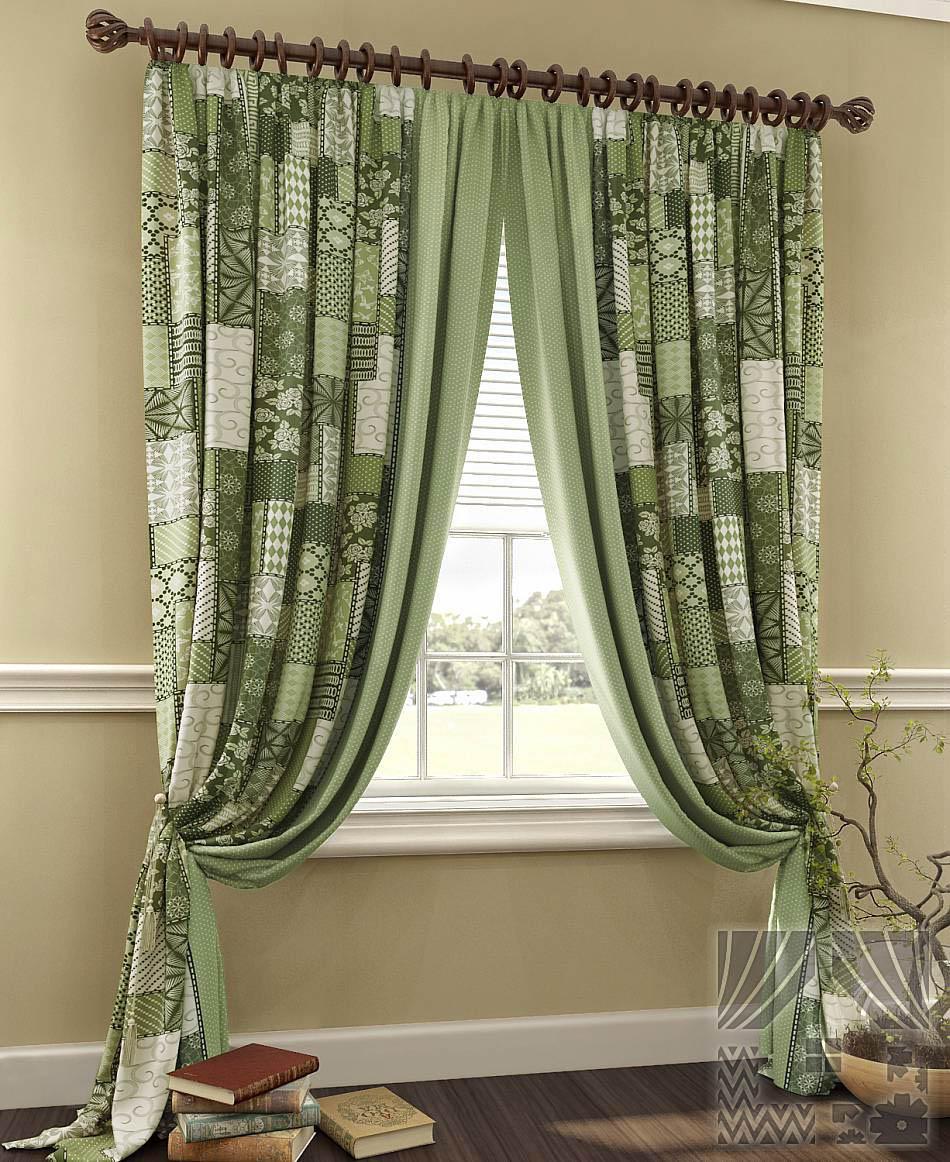 Шторы ТомДом Классические шторы Пейч Цвет: Зеленый