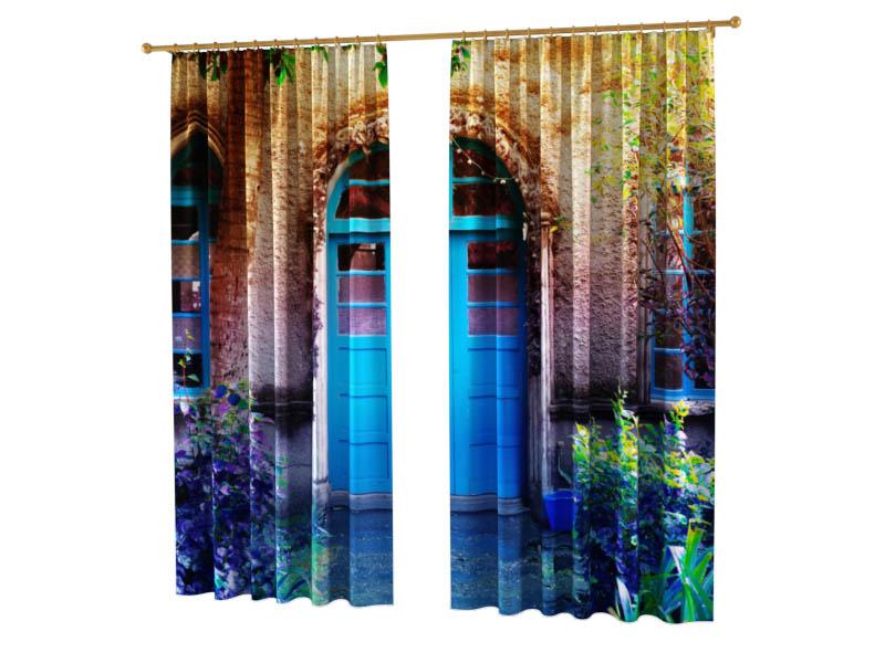Шторы StickButik Фотошторы Синяя Дверь