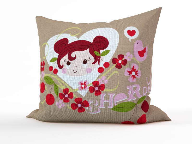 Декоративные подушки StickButik Декоративная подушка Вишневая Девочка  (45х45)