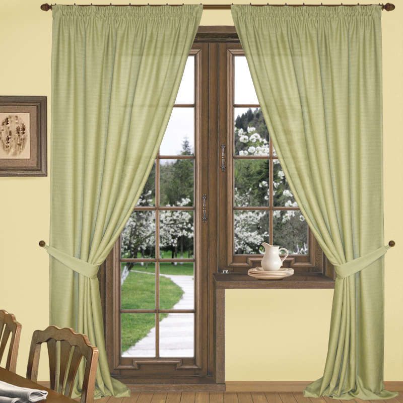 Eleganta Классические шторы Эко-Стиль Цвет: Оливковый