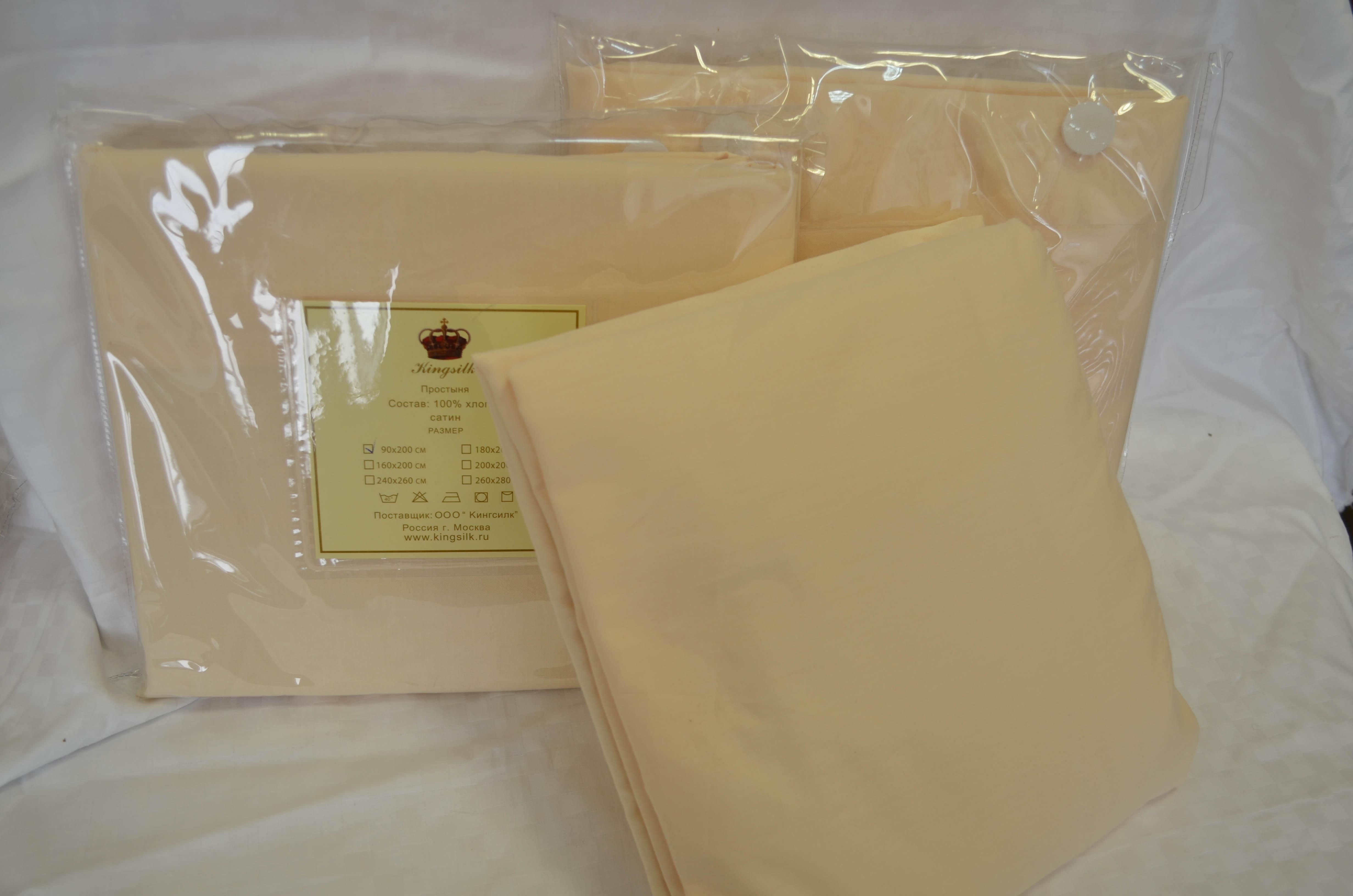Простыня без резинки KingSilkПростыня<br>Производитель: KingSilk<br>Страна производства: Китай<br>Материал: Хлопковый сатин<br>Состав: 100% хлопок<br>Размер простыни: 260х280 см<br>Упаковка: Полиэтиленовый пакет<br><br>Тип: простыня без резинки<br>Размерность комплекта: без резинки<br>Материал: Хлопковый сатин<br>Размер наволочки: None<br>Подарочная упаковка: без резинки<br>Для детей: нет без резинки<br>Ткань: Хлопковый сатин<br>Цвет: Кремовый
