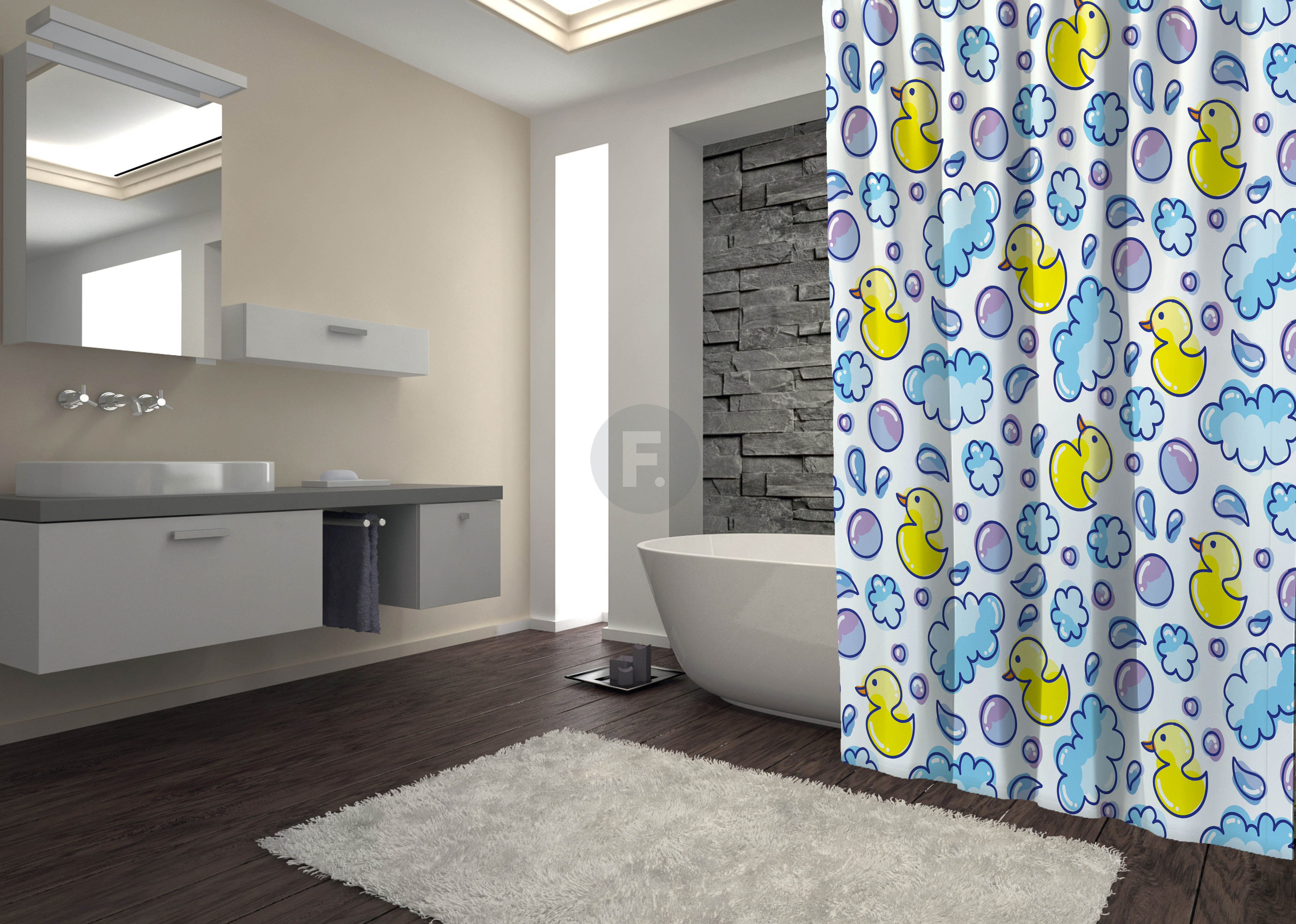 Шторы и карнизы для ванной Fototende Шторы для ванной Damian  (145х180)