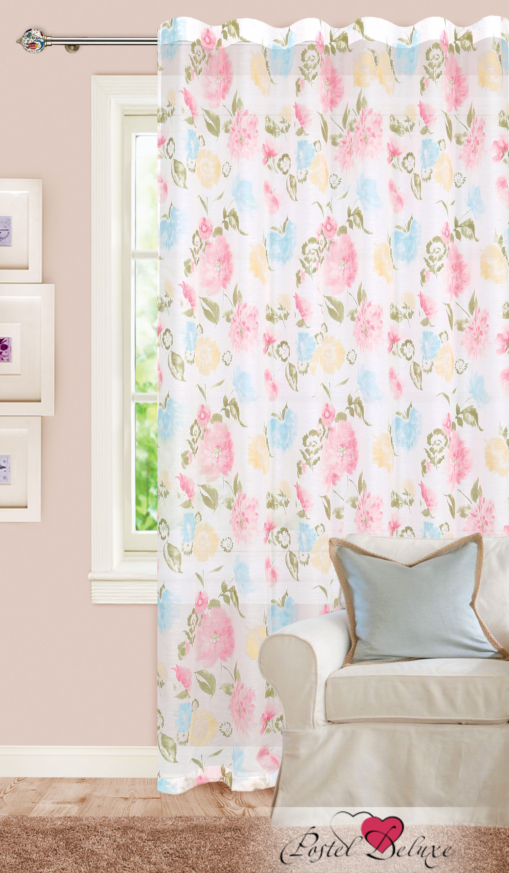 Шторы Garden Классические шторы Букет Цвет: Розовый, Голубой, Персиковый garden garden классические шторы полевые вьюнки цвет розовый