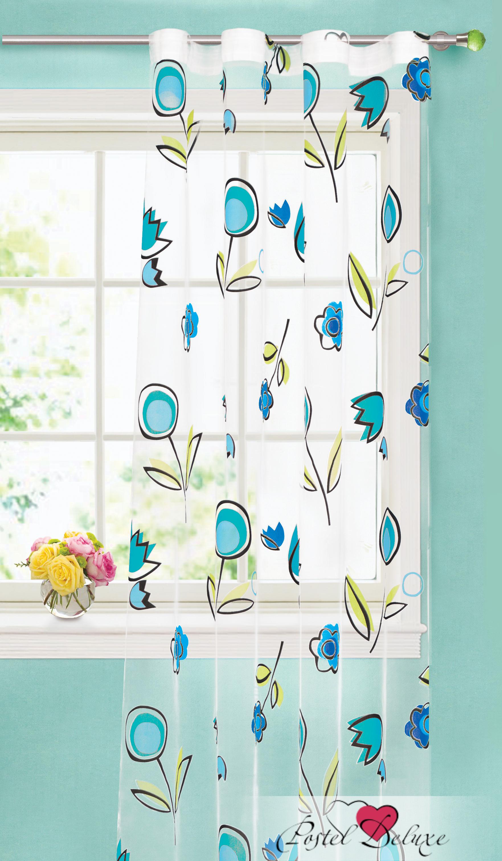 Шторы Garden Классические шторы Нарисованные Цветы Цвет: Бирюзовый