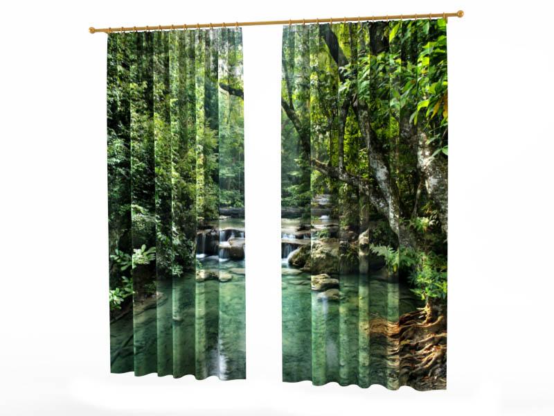 Шторы StickButik Фотошторы Лесной Водопад