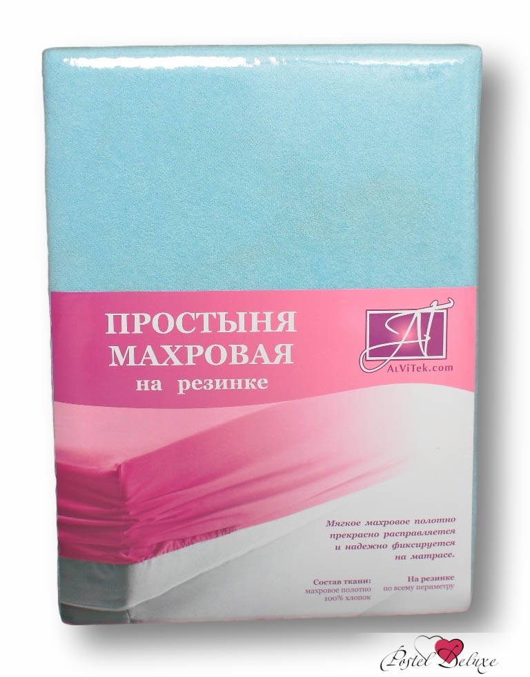 Махровые и велюровые простыни AlViTekПростыня<br>Производитель: AlViTek<br>Страна производства: Россия<br>Материал: Хлопковая махра<br>Состав: 100% хлопок<br>Размер простыни: 200х200<br>Высота бортика: 30 см<br>Тип простыни: На резинке<br>Упаковка: Прямоугольная ПВХ<br><br>Цвет чехла может отличаться от представленного на фотографии.<br><br>Тип: Махровые и велюровые простыни<br>Размерность комплекта: Махровые и велюровые простыни<br>Материал: Хлопковая махра<br>Размер наволочки: None<br>Подарочная упаковка: Махровые и велюровые простыни<br>Для детей: Махровые и велюровые простыни<br>Ткань: Хлопковая махра<br>Цвет: Голубой