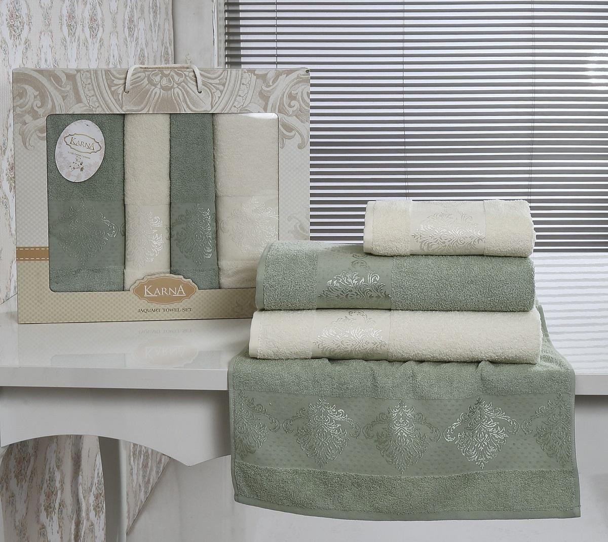 где купить  Полотенца Karna Полотенце Dora Цвет: Кремовый-Зеленый (Набор)  по лучшей цене