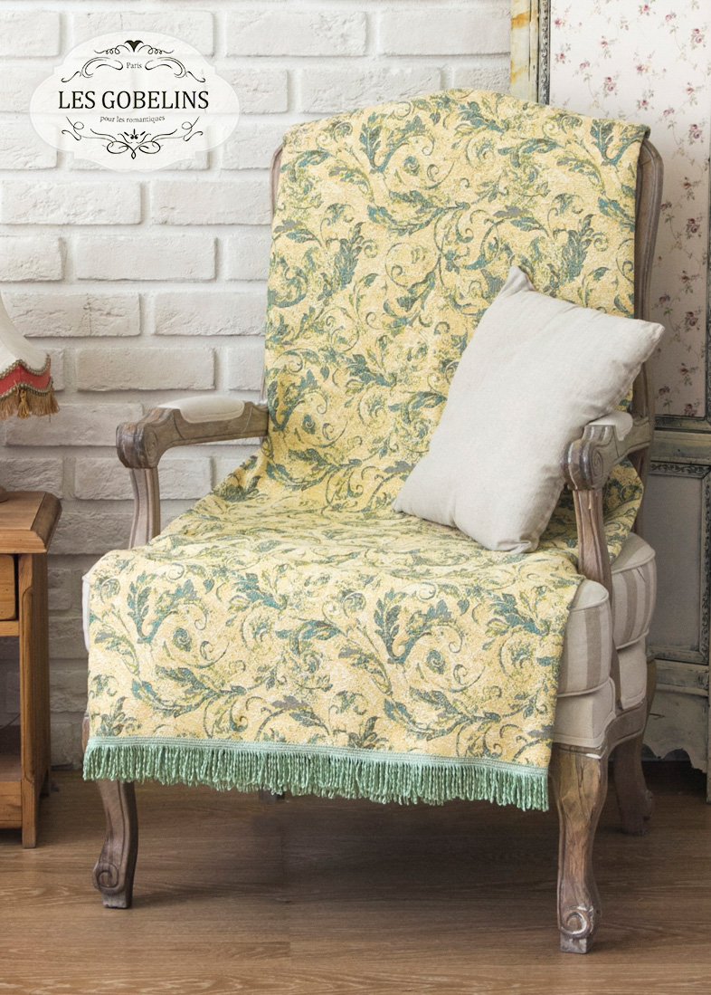 где купить  Покрывало Les Gobelins Накидка на кресло Jeune Verdure (60х180 см)  по лучшей цене