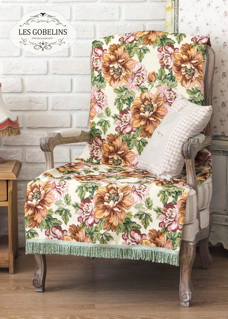 Покрывало Les Gobelins Накидка на кресло Pivoines (80х160 см)