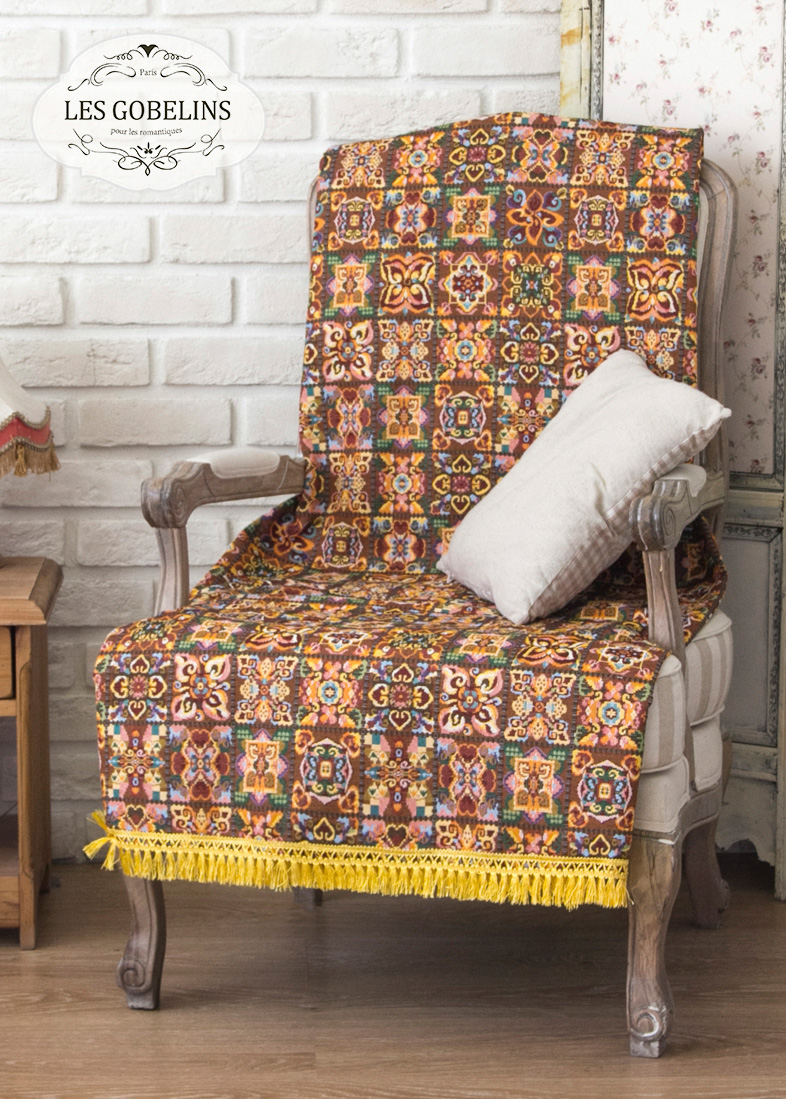 где купить Покрывало Les Gobelins Накидка на кресло Mosaique De Fleurs (80х130 см) по лучшей цене