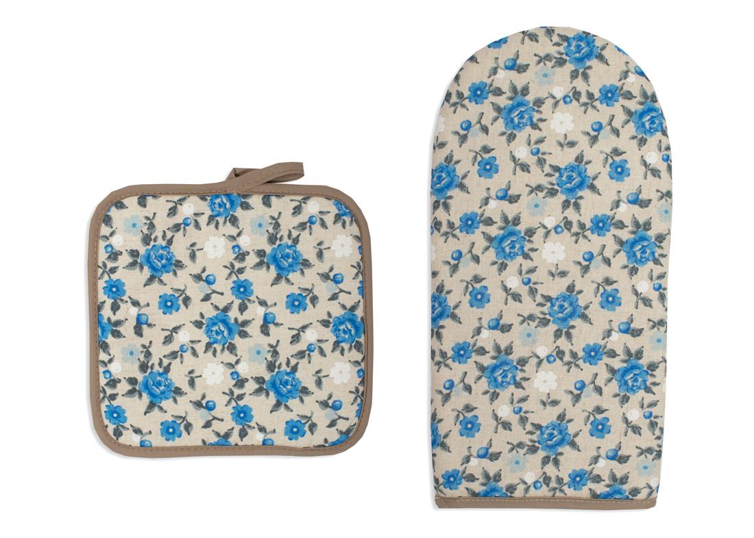 Кухонный набор Гранд-Стиль Гранд-Стиль Кухонный набор рукавичка + прихватка Цветочек Цвет: Синий gst190791