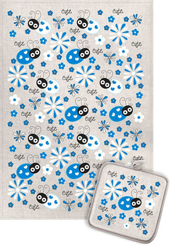 Кухонный набор Гранд-Стиль Гранд-Стиль Кухонный набор из 2 полотенец Божья коровка и ромашки Цвет: Синий gst190864