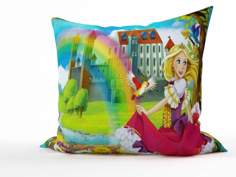 где купить  Декоративные подушки StickButik Декоративная подушка Радужная Принцесса (45х45)  по лучшей цене