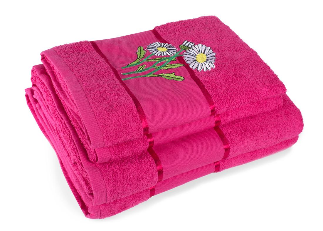 Полотенца Elegante Полотенце White Daisy Цвет: Фуксия (Набор) полотенца eleganta полотенце anetta цвет темная фуксия набор