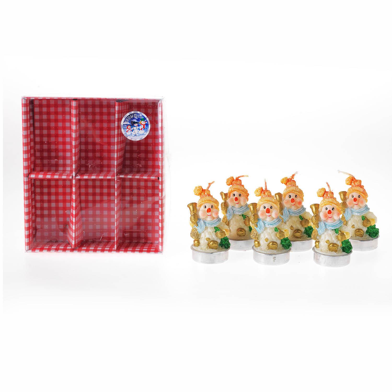 {}  Свечи Снеговик (4х5 см - 6 шт) подарочный набор 5 пр свечи в подсв 5 шт 749706