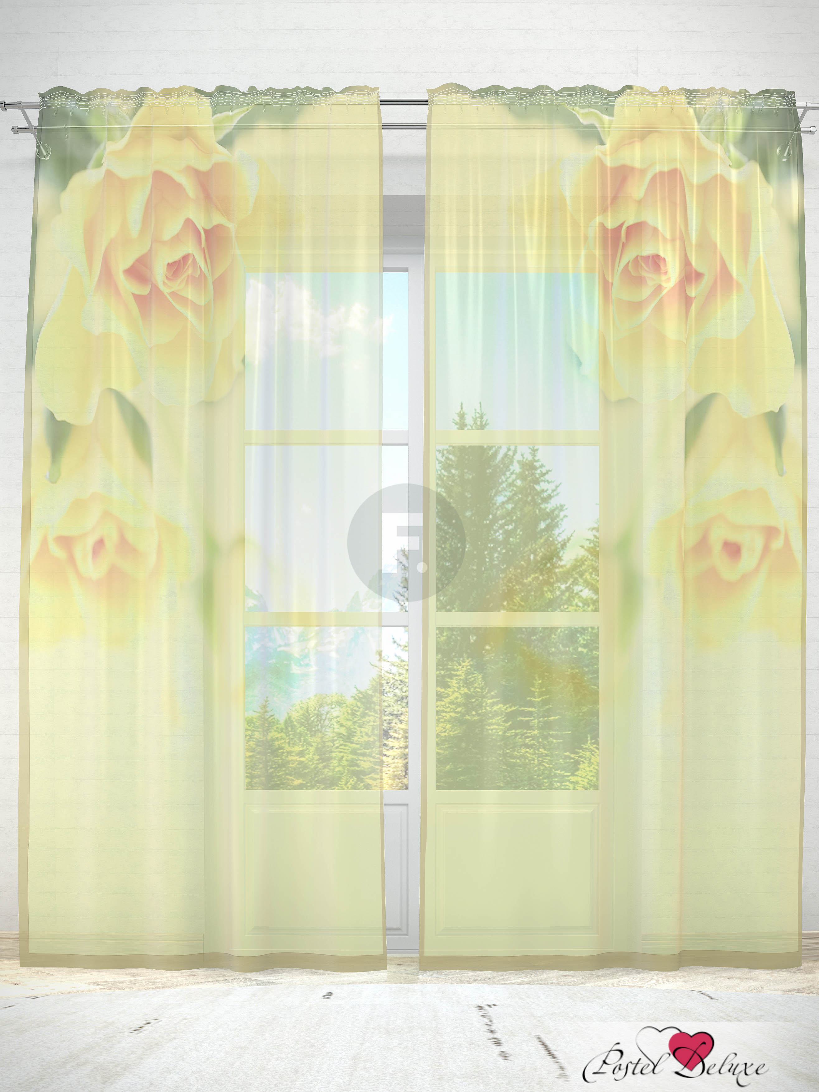 Шторы Fototende Фототюль Желтые розы