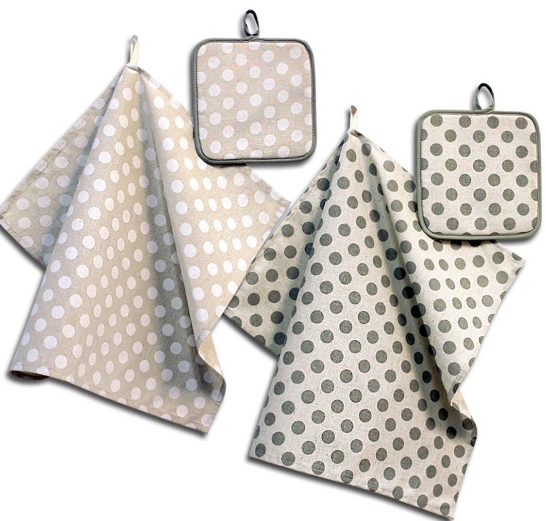 Кухонный набор Гранд-Стиль Гранд-Стиль Кухонный набор из 2 полотенец Горошек Цвет: Серый gst190857