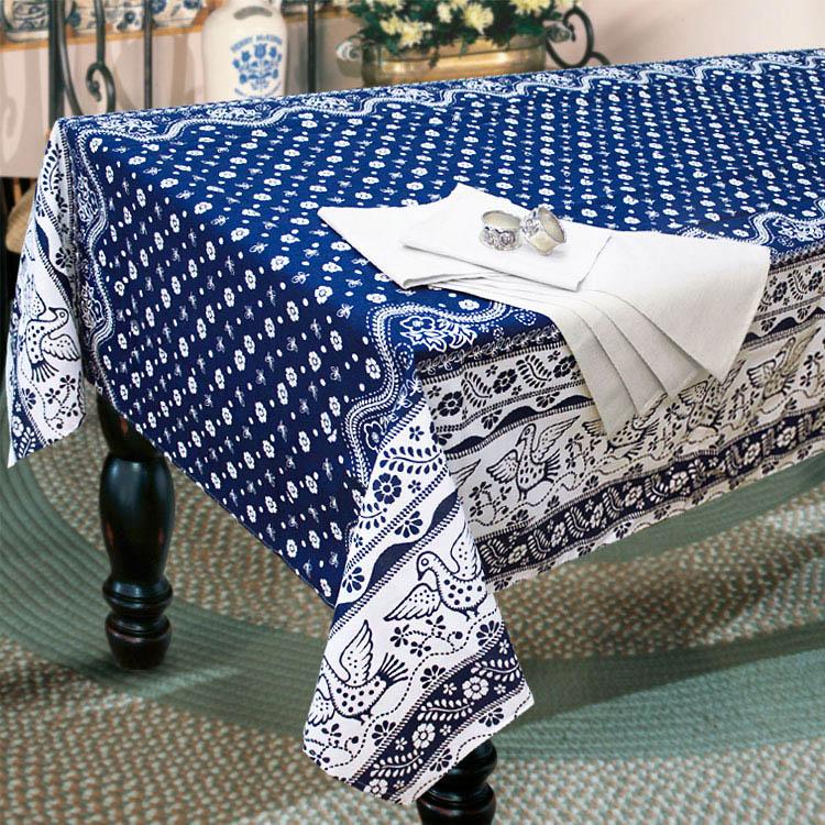 Скатерти и салфетки Гранд-Стиль Скатерть + Салфетки Голубка синяя (140х220 см)