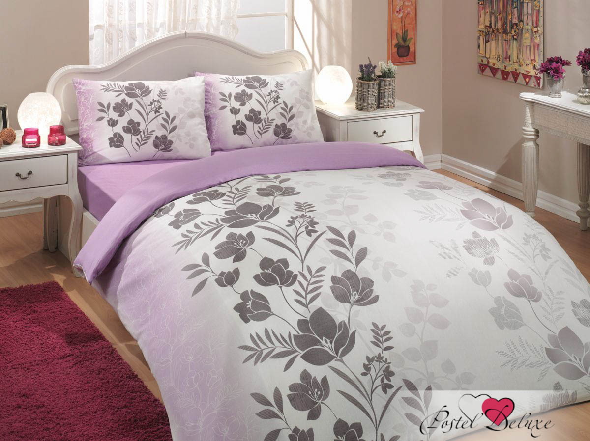 Постельное белье HOBBY HOME COLLECTION Постельное белье Flore Цвет: Лиловый (2 сп. евро) camay 1l