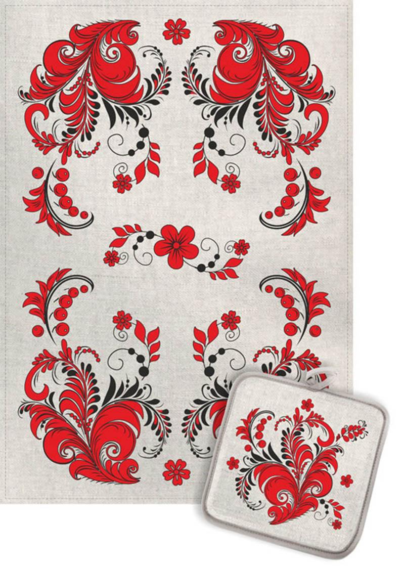 Кухонный набор Гранд-Стиль Гранд-Стиль Кухонный набор из 2 полотенец Хохлома Цвет: Красный gst190897