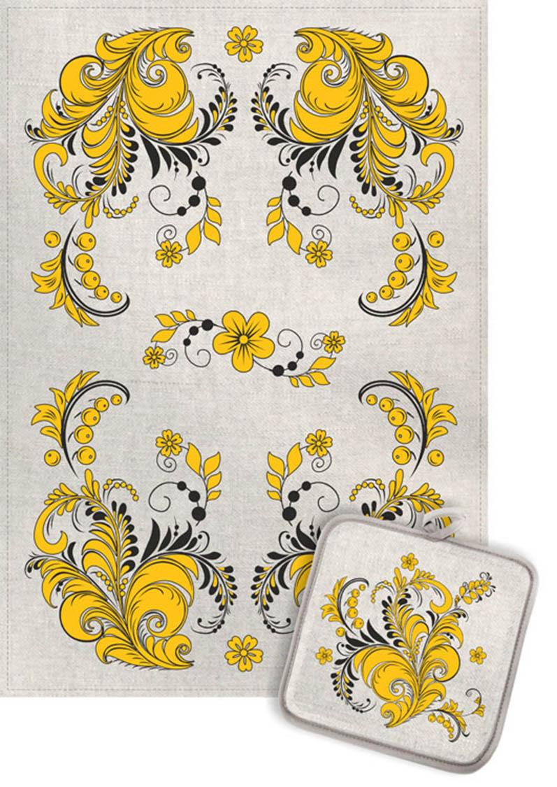 Кухонный набор Гранд-Стиль Гранд-Стиль Кухонное полотенце Хохлома Цвет: Золото gst190841