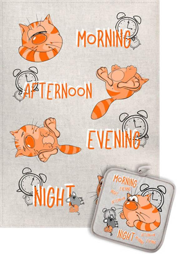 Кухонный набор Гранд-Стиль Гранд-Стиль Кухонное полотенце Котик Утро-Ночь gst190815