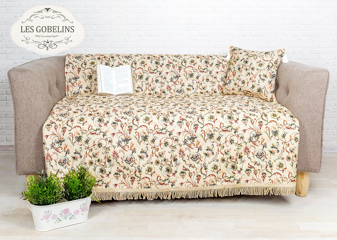где купить  Покрывало Les Gobelins Накидка на диван Fleurs anglais (150х200 см)  по лучшей цене