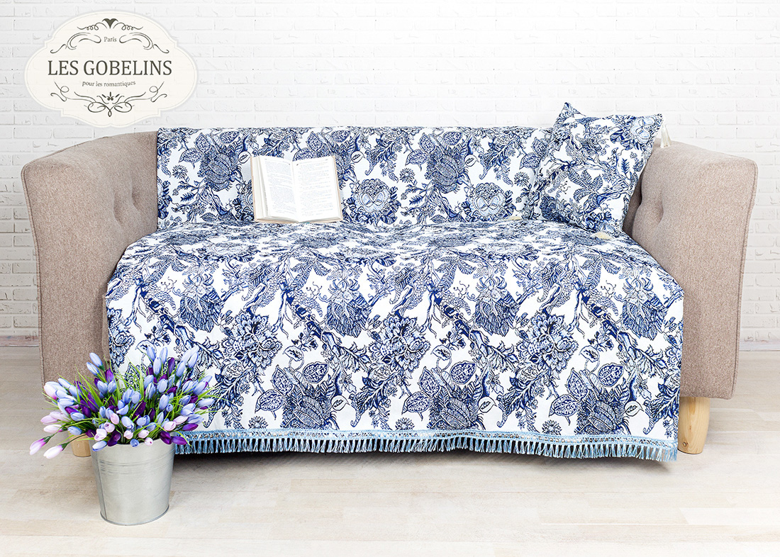 где купить Покрывало Les Gobelins Накидка на диван Grandes fleurs (150х170 см) по лучшей цене