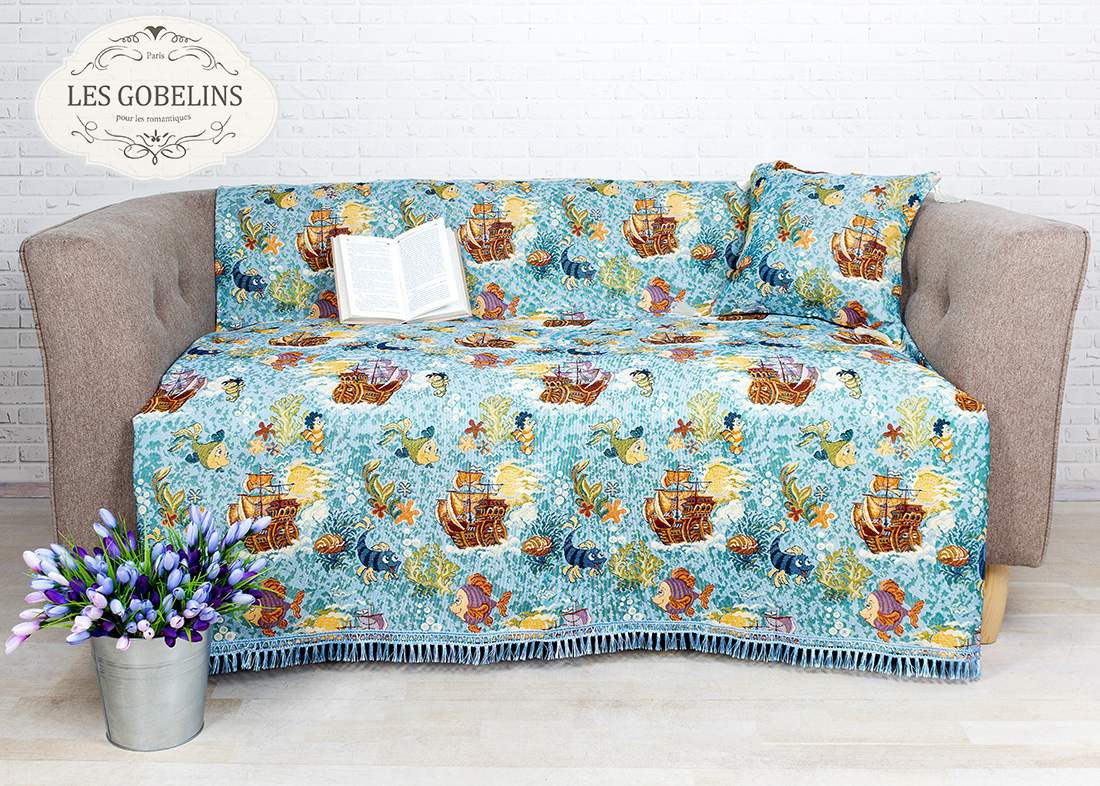 Детские покрывала, подушки, одеяла Les Gobelins Детская Накидка на диван Ocean (160х160 см)