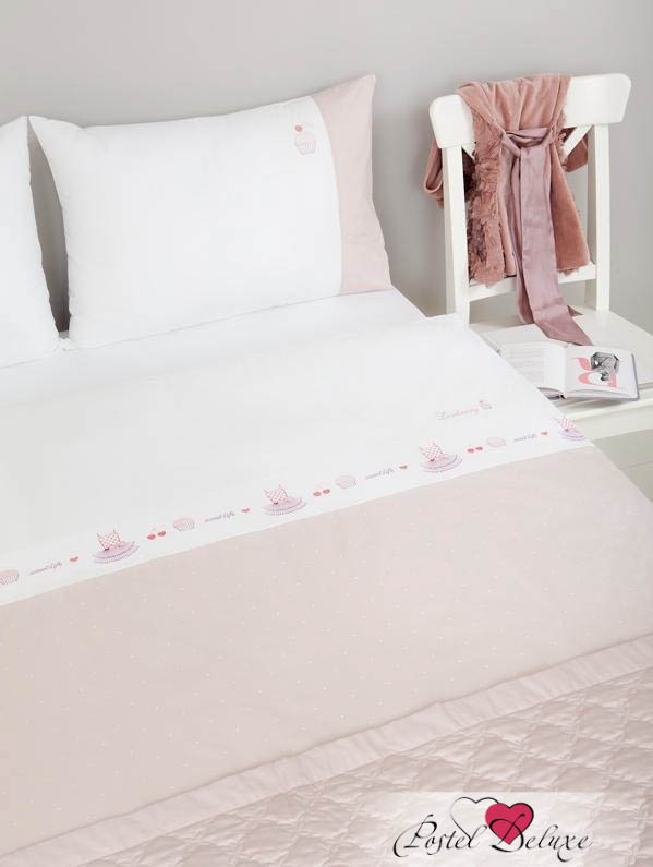 Luxberry КПБ Sweet Life Цвет: Белый, Жемчужно-Розовый (1,5 спал.)