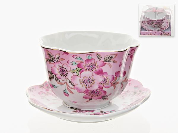 {} Best Home Porcelain Бульонница с блюдцем Яблоневый Цвет (400 мл) кружка бульонница 14 5 11 5 7 см 400 мл мордашка зеленая 1158036