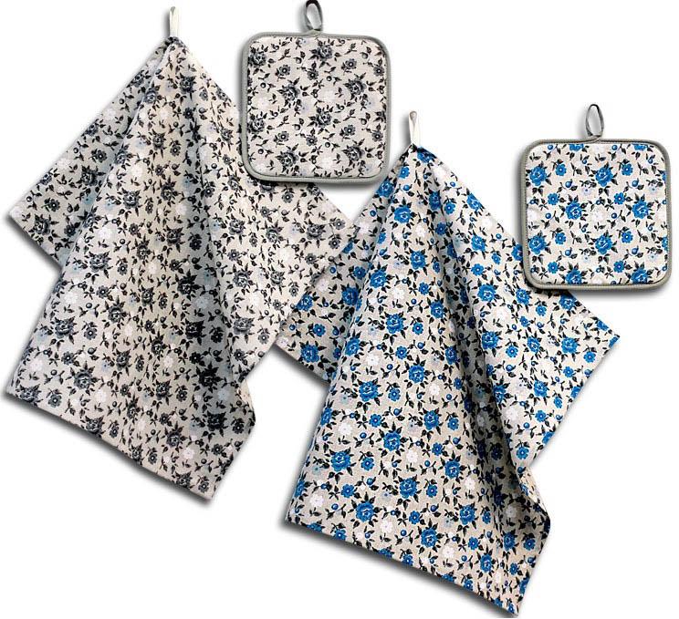 Кухонный набор Гранд-Стиль Гранд-Стиль Кухонное полотенце Мелкий цветочек Цвет: Серый gst190807