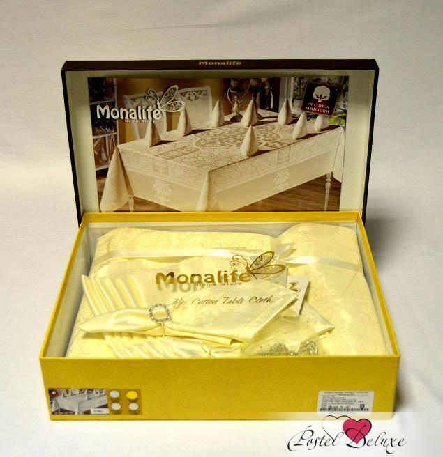 Скатерть MonalitСкатерти<br>Производитель: Monalit<br>Страна производства: Турция<br>Материал: Жаккард<br>Состав: 50% Хлопок, 50% Полизстер<br>Размер скатерти: 160х300 см.<br>Размер салфеток: 40х40 см (12 шт)<br>Кольца для салфеток: 12 шт<br>Форма: Прямоугольная<br>Подарочная упаковка: скатерть перевязана атласной лентой и упакована в красивую фирменную коробку.<br><br>Тип: скатерть<br>Размерность комплекта: None<br>Материал: Жаккард<br>Размер наволочки: None<br>Подарочная упаковка: None<br>Для детей: нет<br>Ткань: Жаккард<br>Цвет: Кремовый