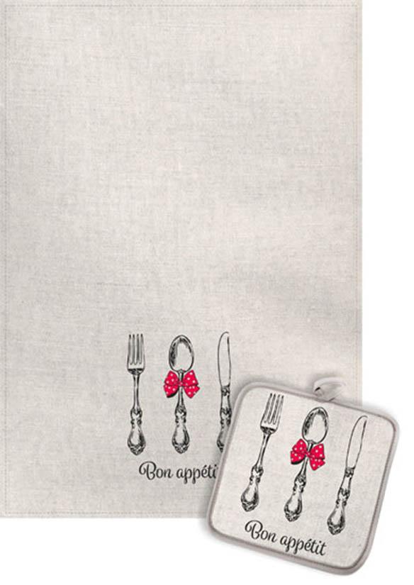 Кухонный набор Гранд-Стиль Гранд-Стиль Кухонное полотенце Приборы с бантиком Цвет: Малиновый gst190830