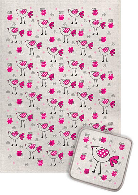 Кухонный набор Гранд-Стиль Гранд-Стиль Кухонный набор из 2 полотенец Птичка в сапожках Цвет: Малиновый gst190889