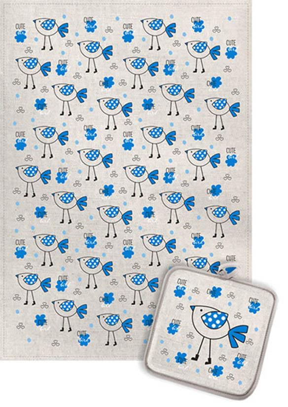 Кухонный набор Гранд-Стиль Гранд-Стиль Кухонное полотенце Птичка в сапожках Цвет: Синий gst190833