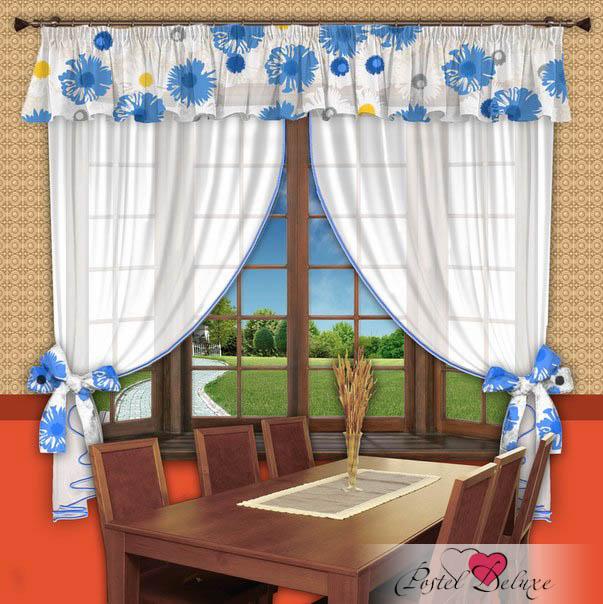 Фотография РеалТекс Шторы с ламбрекеном Ромашки Цвет: Голубой