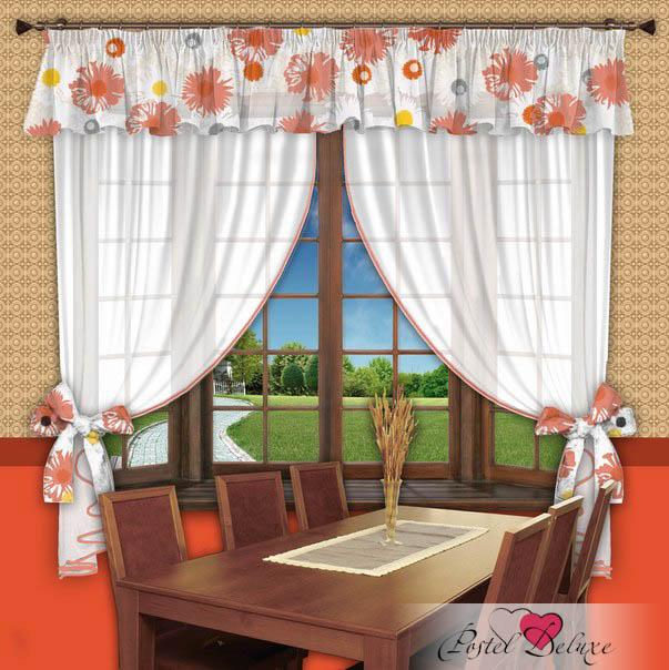 РеалТекс Шторы с ламбрекеном Ромашки Цвет: Оранжевый